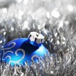 Blue christmas ball — Stock Photo