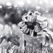 Silver christmas card — Stock Photo