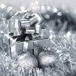 Silver christmas card — Stock Photo