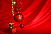 Red christmas ball — Stockfoto