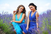 Two women on lavender field — Stock Photo