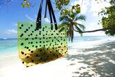 Beach bag on sea background — Stockfoto