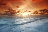 Sunset on beach — Stockfoto