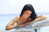 Woman portrait on beach — Stock Photo