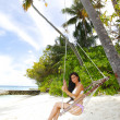 Stock Photo: Womain in beach hammock