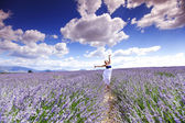 Woman on lavender field — Stock Photo