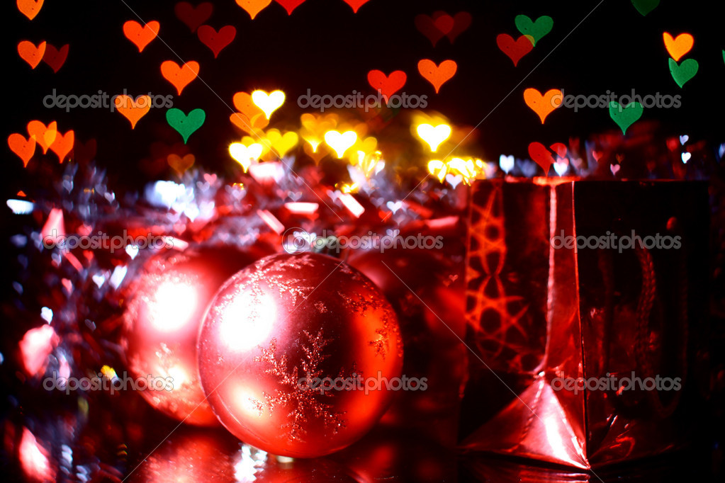 Holiday gifts background hearts warm — Stock Photo #16498435