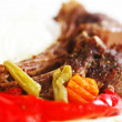 Roasted ribs and vegetables — Stock Photo
