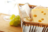 Cheese and grape close up — Stock Photo