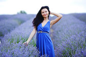Woman standing on a lavender field — Stock Photo