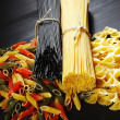 Variety of types and shapes of Italian pasta - Stock Photo
