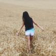 Woman on wheat field — Stock Photo #24415991