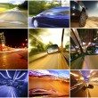 Collage of cars driving fast on different roads — Stock Photo