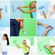 Stock Photo: Set of women painting awall