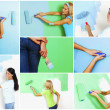 Set of women painting awall — Stock Photo #24782291