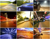 Collage of cars driving fast on different roads — Foto de Stock