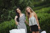 две женщины шоппинг — Стоковое фото
