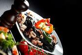 Espaguetis negros con mariscos — Foto de Stock