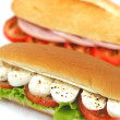 Stock Photo: Sandwich with mozzarella tomato and salad