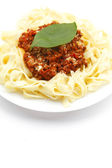 Spaghetti bolognese on white plate — Стоковое фото