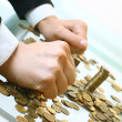 Stock Photo: Coins piles