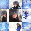 Collage woman in winter park — Stock Photo #28606841