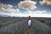 женщина в сиреневом поле — Стоковое фото