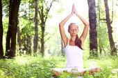 Lotus yoga sunrise — Stock Photo