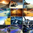 Stock Photo: Collage of cars driving fast on different roads