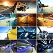 Collage of cars driving fast on different roads — Stock Photo #29739593