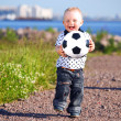Boy play soccer — Stock Photo