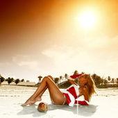 Santa girl vocation — Stock Photo