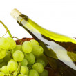 Bottle with white wine and grapes — Stock Photo