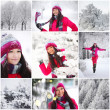 Collage woman in winter park — Stock Photo
