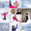 Collage women in winter park — Stock Photo #32388469