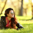 Woman on green grass — Stock Photo #32388731