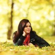 Woman portret in autumn leaf — Stock Photo #32388819