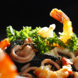Black spaghetti with seafood — Foto Stock