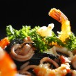 Black spaghetti with seafood — ストック写真