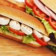 Stockfoto: Pile of sandwiches close