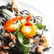 Black spaghetti with seafood — Stock Photo #33273407