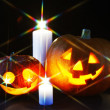 Halloween pumpkins and candles — Stock Photo