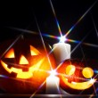 Halloween pumpkins and candles — Stock Photo #33276131