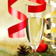 Champagne and new year decoration — Stock fotografie