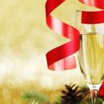 decorazione Champagne e nuovo anno — Foto Stock