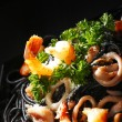 Black spaghetti with seafood — Stock Photo #34736141
