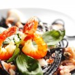 Stock Photo: Black spaghetti with seafood