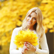 Smiling woman in autumn park — Stock Photo #34745113