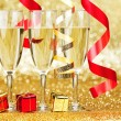 Champagne and ribbons — Stock Photo #34745761
