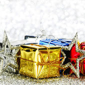 Gift boxes and decoration — Stock Photo